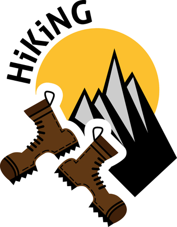 hiking: Flat emblem of hiking with boots, sun and mountains. Hiking emblem