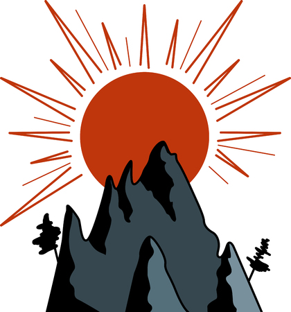 Graphic image of sun and mountains 일러스트