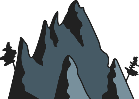 Dark graphic mountains with trees