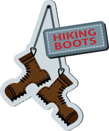 Flat hiking boots hanging on a string 일러스트