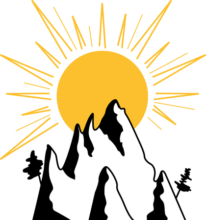 mountaineering: Graphic image of sun and mountains Illustration