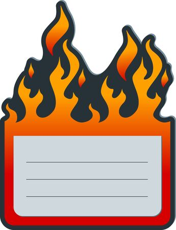Flat price label with fire 일러스트