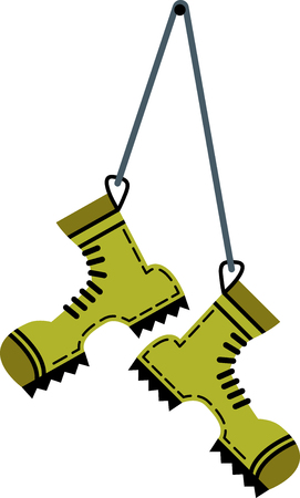 Flat hiking boots hanging on a string in color green