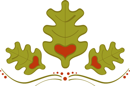 Abstract ornament of oak leaves with heart. oak ornament
