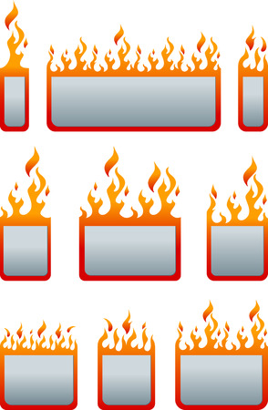Set of flat price tag with fire. Fire sticker. Fire label.