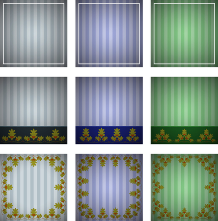 Abstract set of striped background with ornament of oak leaves. Striped oak background.