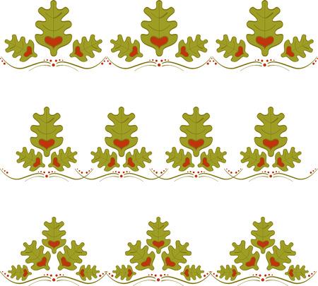 Set of abstract oak borders with heart. Oak border Vettoriali