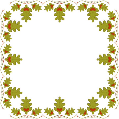 Abstract frame of oak leaves with hearts. Oak frame 일러스트