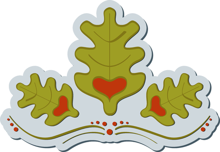 Abstract graphic label of oak symbol with heart. Oak label Vettoriali