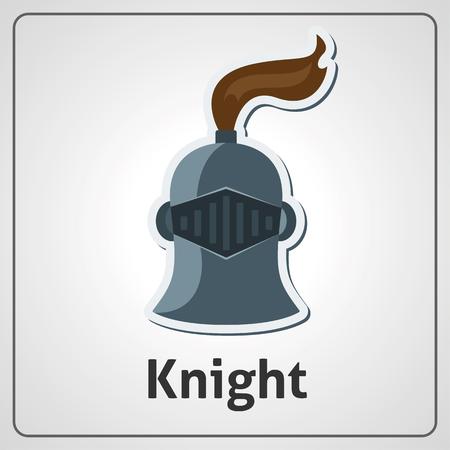 Flat image of knight's helmet with visor. Knight's helmet