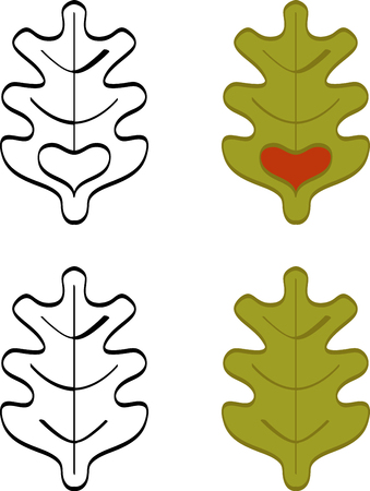 Abstract set of graphic oak leaves. Oak leaves
