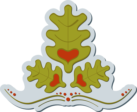 Abstract graphic label of oak symbol with heart. Oak label 일러스트