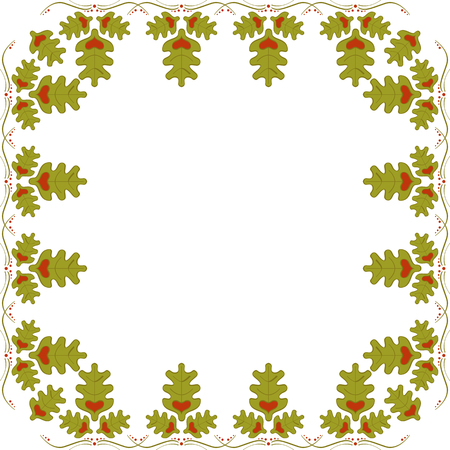 Abstract frame of oak leaves with hearts. Oak frame Vettoriali