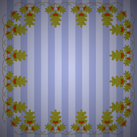 Abstract striped background with frame of oak leaves. Striped oak background. 일러스트