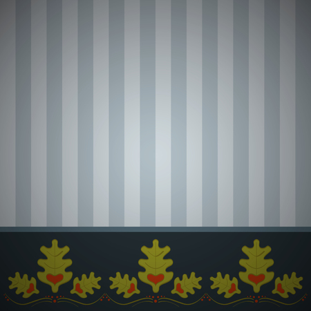 Abstract striped background with ornament of oak leaves. Striped oak background.