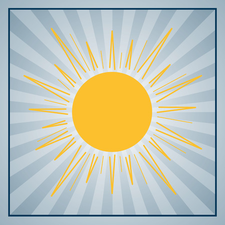 Abstract rays background with yellow sun. Sun background