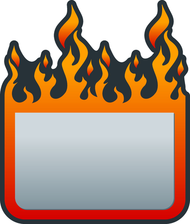 Flat price tag with fire. Fire sticker. Fire label.