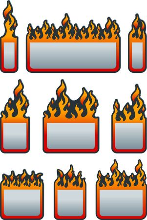 Set of flat price tag with fire. Fire sticker. Fire label. Eps 10