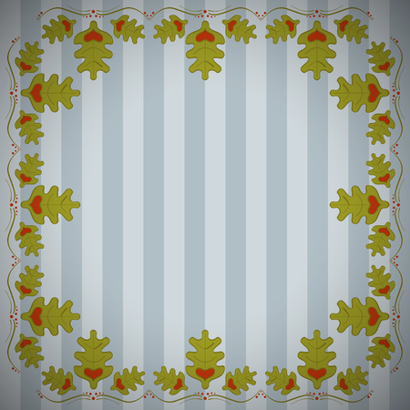 Abstract striped background with frame of oak leaves. Striped oak background. Vettoriali