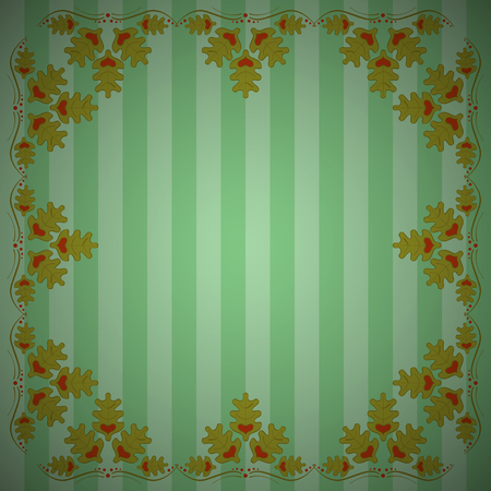 Abstract striped background with frame of oak leaves. Striped oak background. Eps 10 Çizim