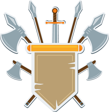 cognizance: Flat medieval blazon with cold arms. Vector coat of arms