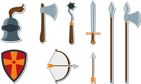 Vector set of flat medieval weapons. Stylized historic weapons 일러스트