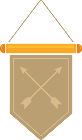 Flat image of medieval pennant with symbol. Vector medieval pennant 일러스트