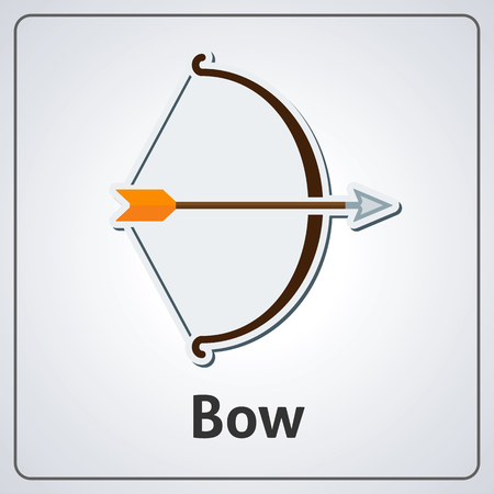 Flat image of medieval bow and arrow. Vector medieval bow and arrow Çizim