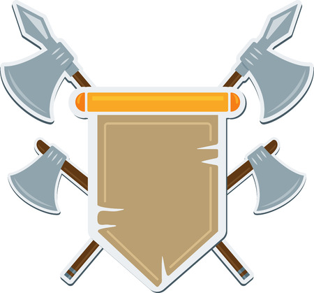 Flat medieval blazon with cold arms. Vector coat of arms