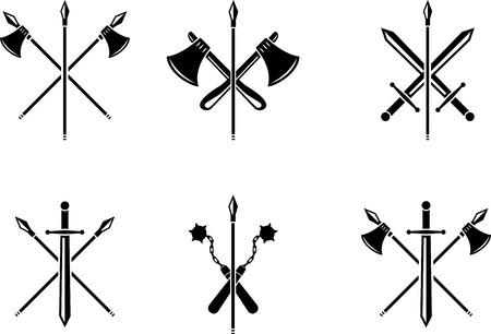 Black emblem of medieval weapons. Medieval black symbol Vettoriali