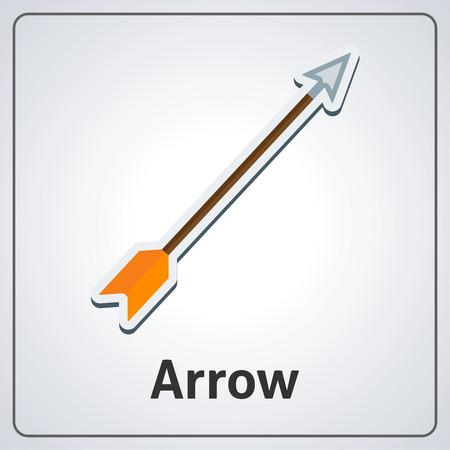 Flat image of medieval arrow. Vector medieval arrow