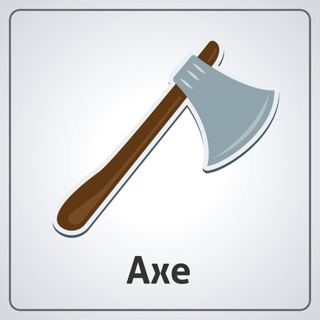 Flat image of medieval axe. Vector medieval axe 일러스트