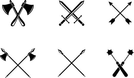 Black emblem of medieval weapons. Medieval black symbol Çizim