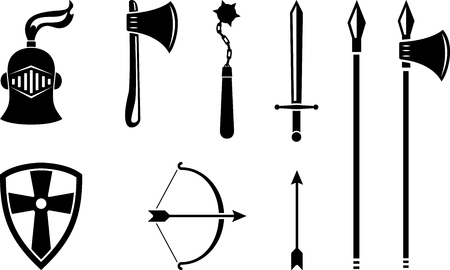 Vector set of black medieval weapons. Stylized historic weapons