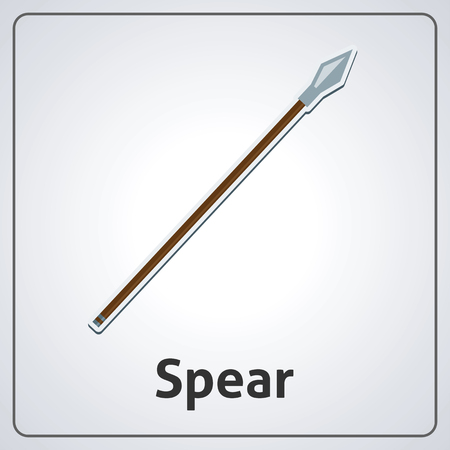 Flat image of medieval spear. Vector medieval spear Vettoriali
