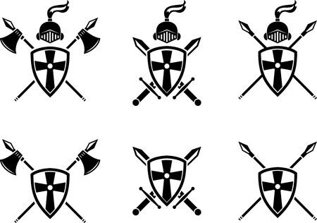 Black emblem of medieval symbols and weapons. Medieval black symbol