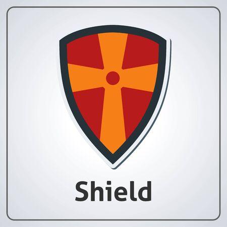 Flat image of medieval shield. Vector medieval shield Vettoriali