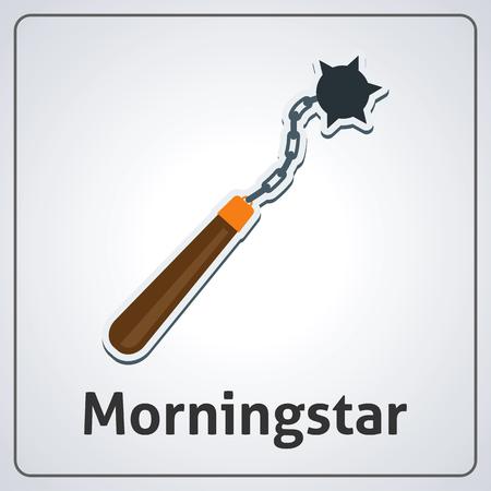 Flat image of medieval morningstar. Vector medieval morningstar