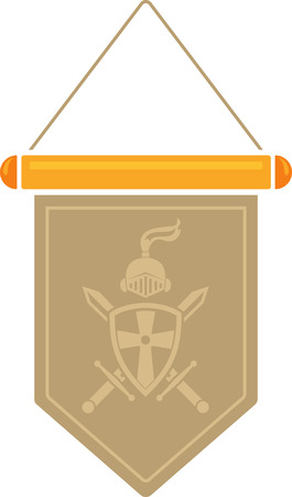 Flat image of medieval pennant with symbol. Vector medieval pennant Çizim