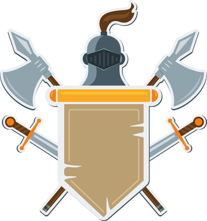 halberd: Flat medieval blazon with cold arms. Vector coat of arms