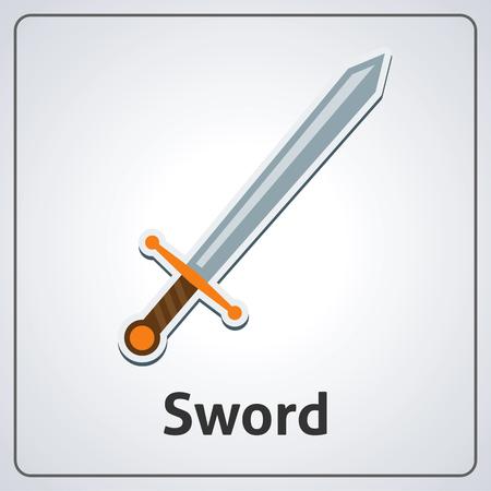 Flat image of medieval sword. Vector medieval sword Çizim