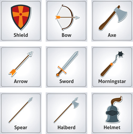 Set of flat background with medieval weapons. Flat medieval weapons