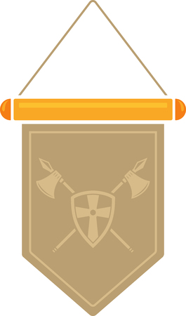 Flat image of medieval pennant with symbol. Vector medieval pennant Illustration