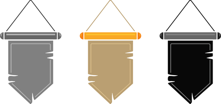 Vector set of old medieval pennant with torn edges