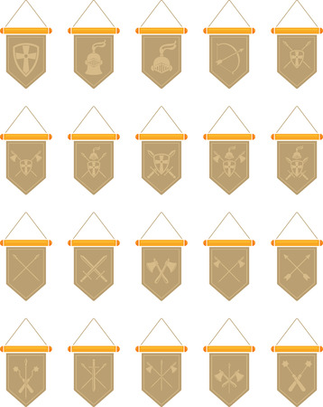 Set of flat image of medieval pennant with symbol. Vector medieval pennant