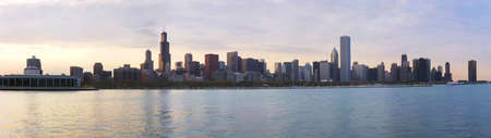 Panorama of Chicago skyline at daylight, IL
