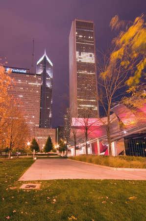 Millennium Park at night, Chicago, IL