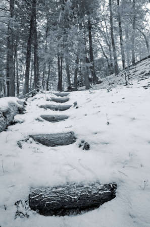 Winter landscape with stairs leading to the house Stock Photo