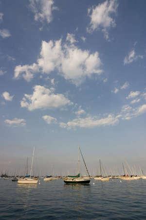 Sailing boats at lake Michigan in Chicago, IL