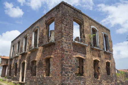 tourist spot: ruins of a historic building in the city of alcantara, the time of colonial Brazil, are tourist spot and Luis do Maranhao of Brazil Stock Photo